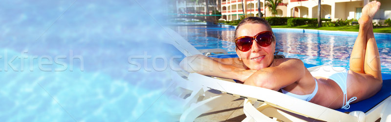 Woman near the pool Stock photo © Kurhan