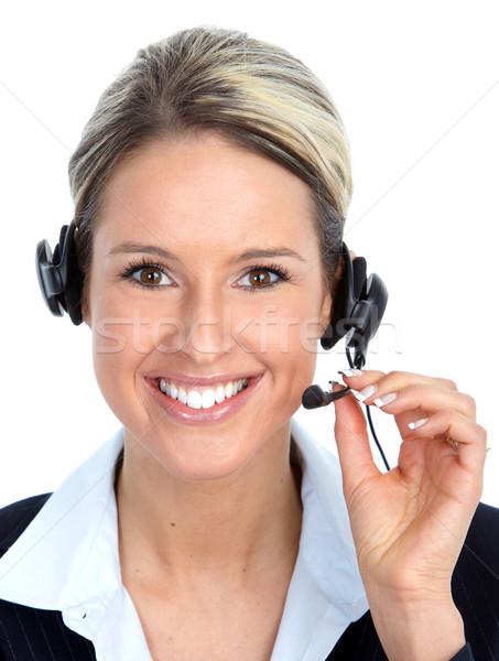 Call center operator woman with headset. Stock photo © Kurhan