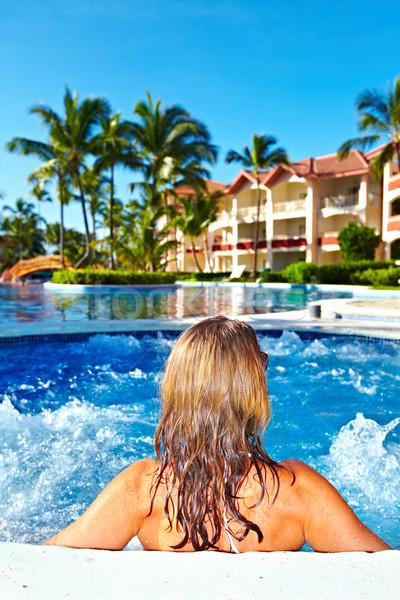 Mulher jacuzzi relaxante férias caribbean recorrer Foto stock © Kurhan