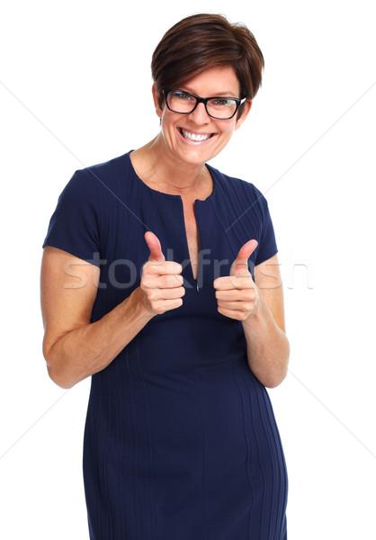 Stock fotó: Boldog · üzletasszony · rövid · hajviselet · gyönyörű · izolált