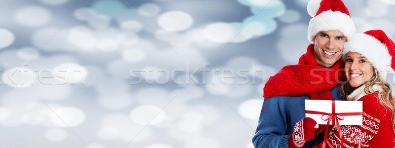 Feliz Pareja dotación Navidad banner mujer Foto stock © Kurhan