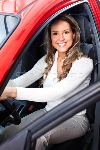 Vrouw auto gelukkig glimlachende vrouw Rood rijden Stockfoto © Kurhan