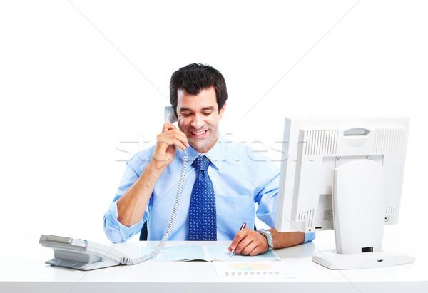 Сток-фото: бизнесмен · улыбаясь · красивый · изолированный · белый · компьютер