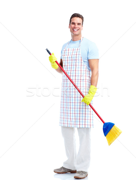 Housewife cleaner man. Stock photo © Kurhan