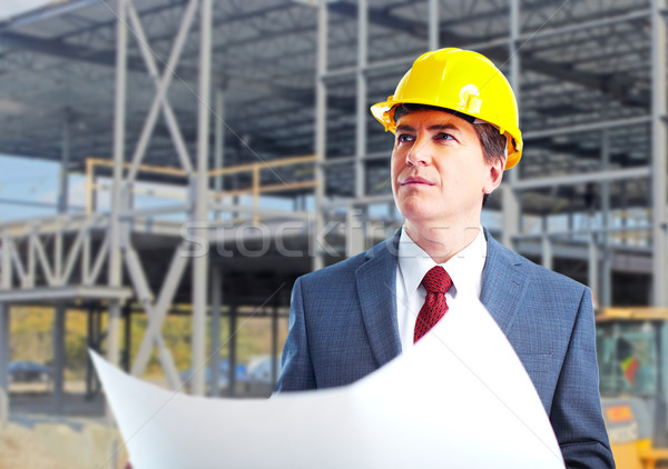 Stock photo: Engineer constructor with a project.