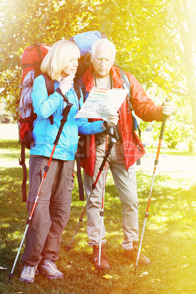 Old people with rucksacks Stock photo © Kurhan