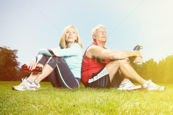 Idős emberek park kettő kopott aktív emberek Stock fotó © Kurhan