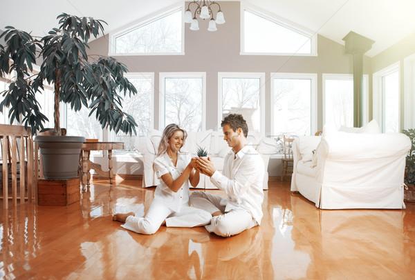 Boldog pár otthon jelzálog biztosítás nő Stock fotó © Kurhan