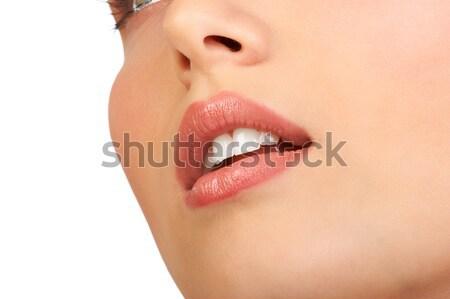 Stockfoto: Vrouw · gezicht · mooie · jonge · vrouw · gezicht · geïsoleerd · witte