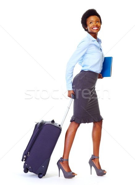 African business woman with suitcase Stock photo © Kurhan