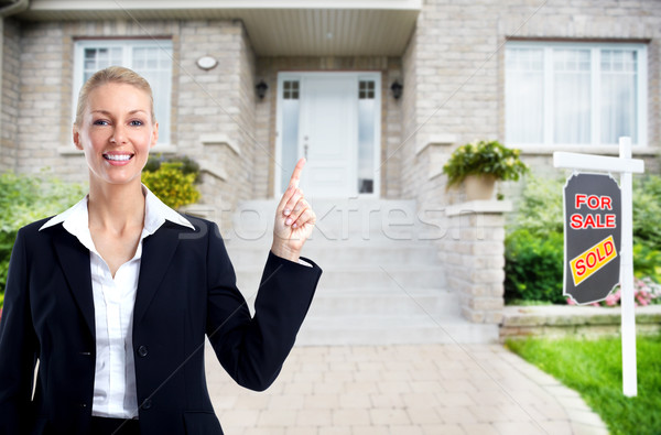 Makelaar vrouw home verkoop bouw Stockfoto © Kurhan