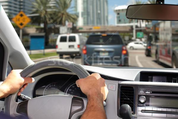 Hands of man with steering wheel. Stock photo © Kurhan