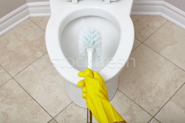 Toilettes bol nettoyage brosse salle de bain main Photo stock © Kurhan