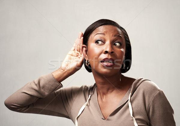 listening african woman. Stock photo © Kurhan