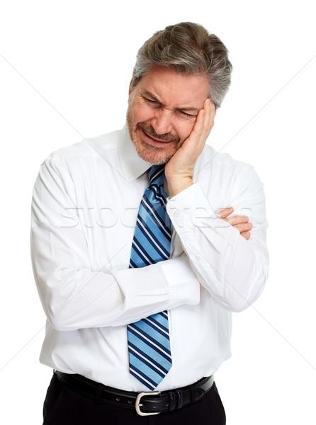 Baş ağrısı bunalımlı adam yalıtılmış beyaz yüz Stok fotoğraf © Kurhan
