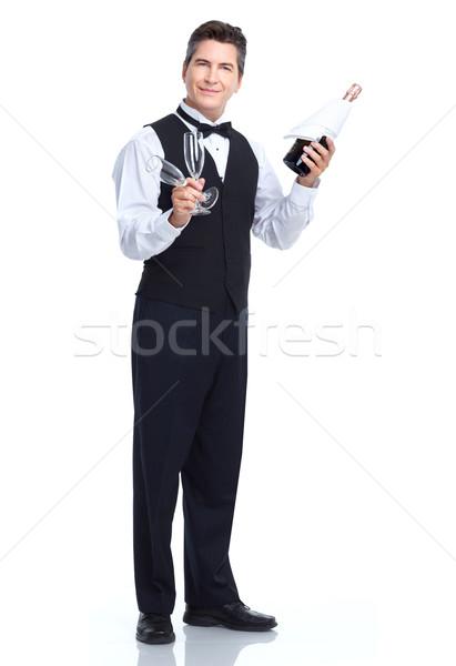 Camarero sonriendo guapo aislado blanco negocios Foto stock © Kurhan