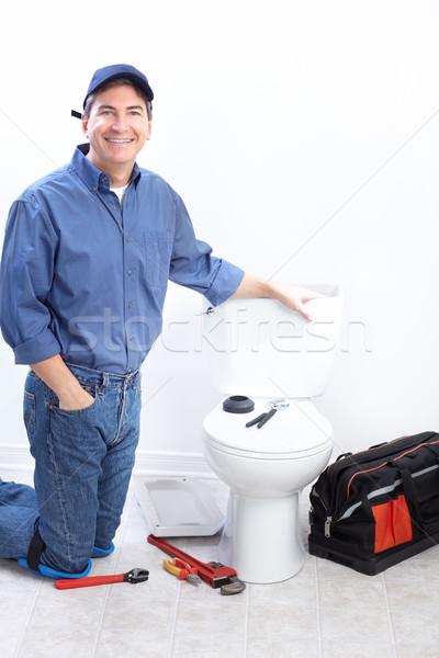 Vízvezetékszerelő érett wc javítás férfi munka Stock fotó © Kurhan
