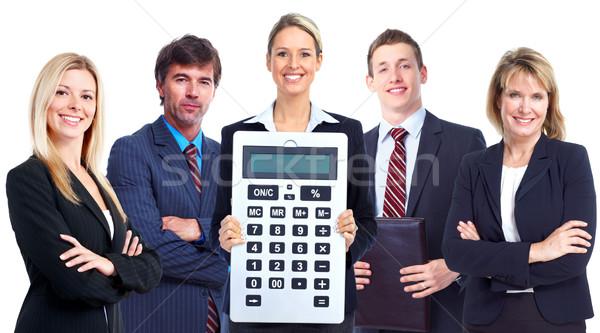 Stockfoto: Groep · zakenlieden · calculator · professionele · geïsoleerd · witte