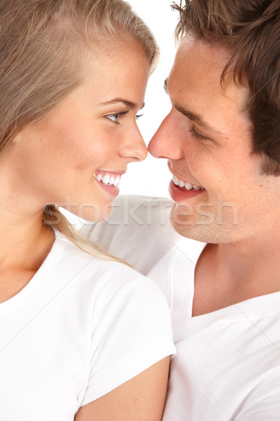 Photo stock: Amour · heureux · souriant · couple · blanche