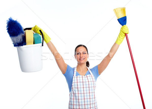 Boldog szobalány nő seprű ház takarítás Stock fotó © Kurhan