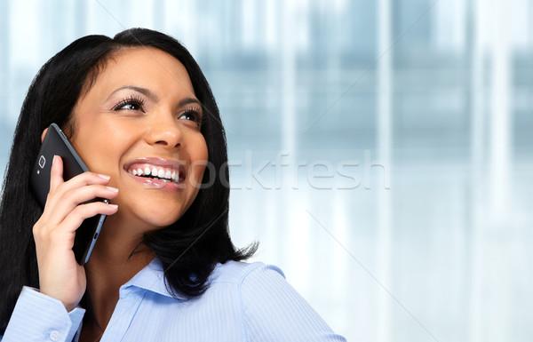 азиатских деловой женщины призыв сотовых говорить сотовый телефон Сток-фото © Kurhan