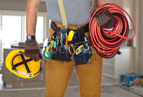 Foto stock: Eletricista · construção · ferramentas · cabo · construtor · handyman