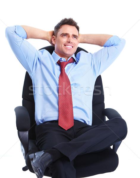ビジネスマン 笑みを浮かべて 孤立した 白 ビジネス 男 ストックフォト © Kurhan