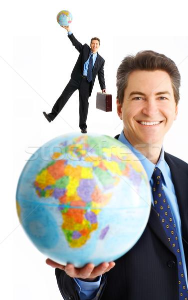 Zakenman wereldbol geïsoleerd witte glimlach gelukkig Stockfoto © Kurhan