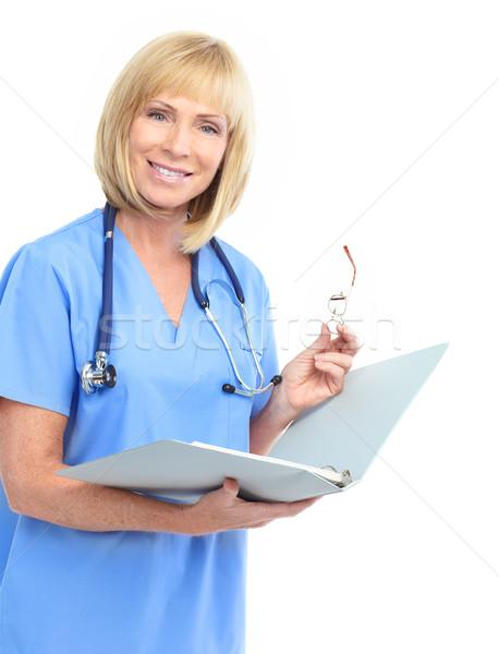 医師 笑みを浮かべて 医療 女性 聴診器 孤立した ストックフォト © Kurhan