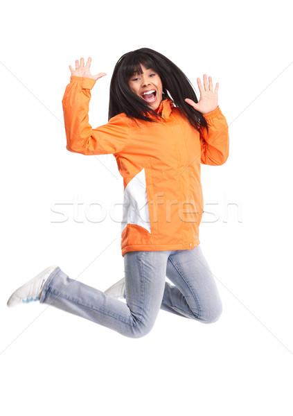 Boldog vicces nő izolált fehér kezek Stock fotó © Kurhan