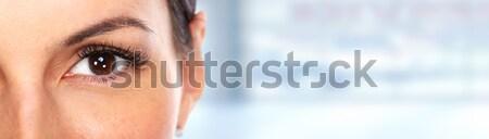 Piękna młoda kobieta oka niebieski banner działalności Zdjęcia stock © Kurhan