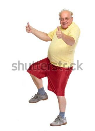 Happy dancing old man. Stock photo © Kurhan