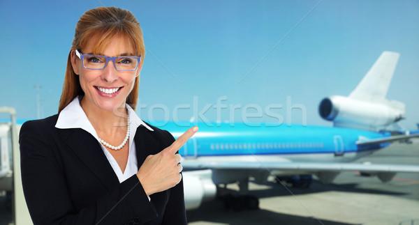 美しい スチュワーデス 女性 笑みを浮かべて 女性 飛行機 ストックフォト © Kurhan
