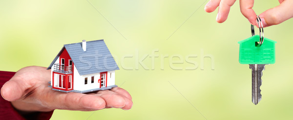 Hand with a little house and keys. Stock photo © Kurhan