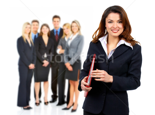 Foto stock: Mulher · de · negócios · pessoas · do · grupo · sorridente · isolado · branco · negócio
