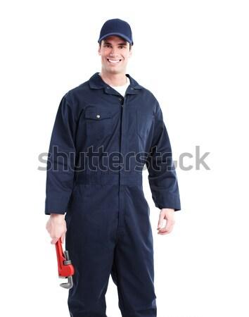 Plombier clé à molette souriant élégant homme travaux Photo stock © Kurhan