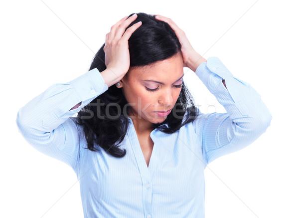 ストックフォト: 女性 · ストレス · ヒスパニック · 頭痛 · うつ病 · 孤立した