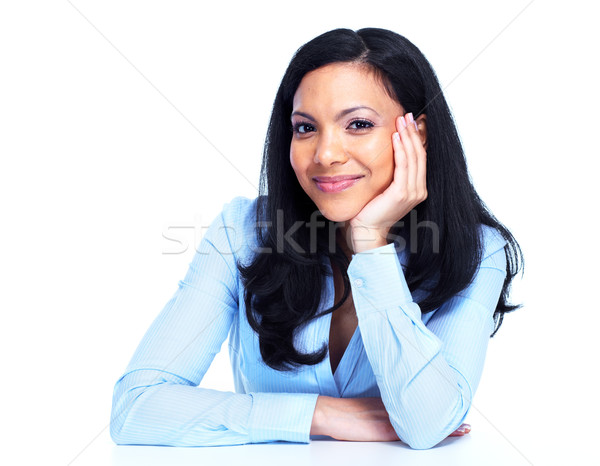 Belle femme d'affaires isolé blanche affaires fille Photo stock © Kurhan