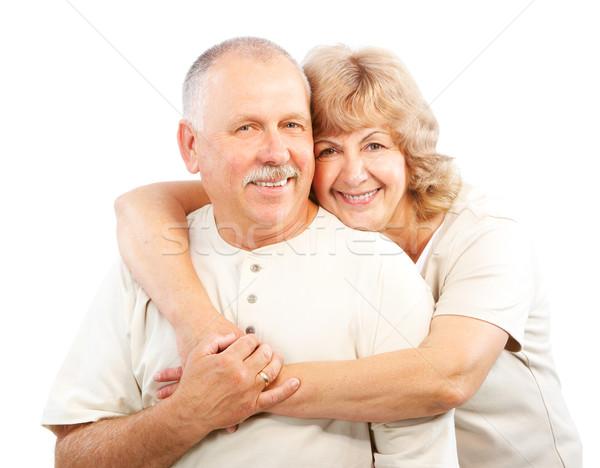 Foto d'archivio: Anziani · Coppia · felice · amore · isolato · bianco