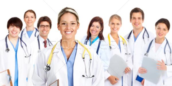 Foto stock: Médicos · sorridente · médico · isolado · branco · trabalhar