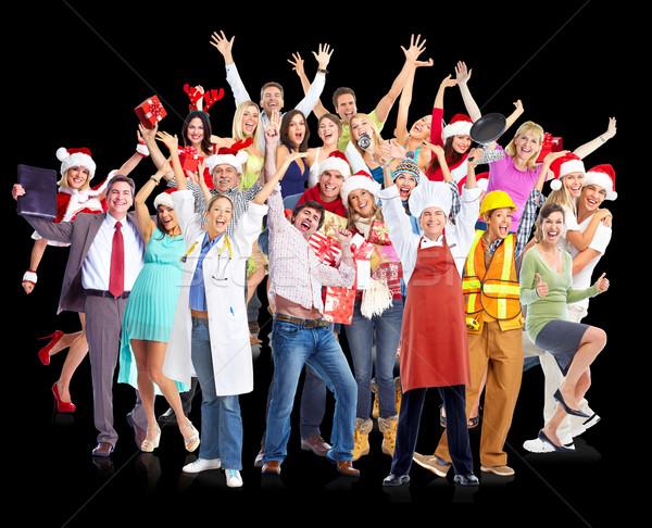 Happy Christmas people group. Stock photo © Kurhan