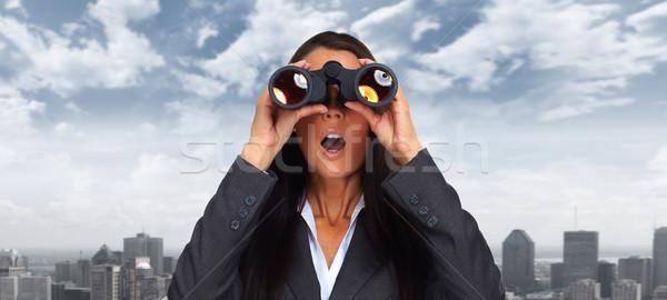 Donna d'affari binocolo business occhi città Foto d'archivio © Kurhan