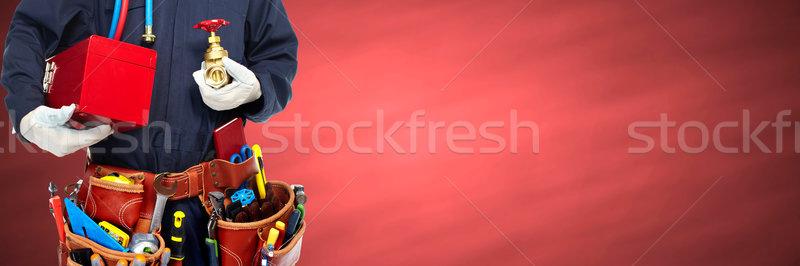 Tesisatçı eller araçları inşaat kırmızı adam Stok fotoğraf © Kurhan