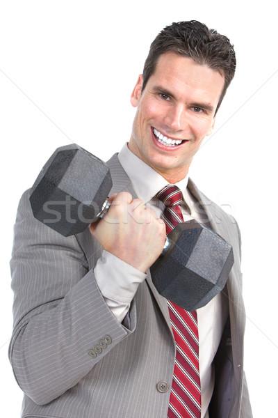 Stockfoto: Zakenman · jonge · glimlachend · geïsoleerd · witte