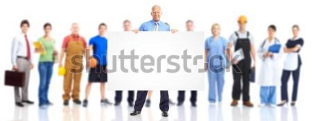 üzletemberek csapat nagyobb csoport fiatal mosolyog fehér Stock fotó © Kurhan
