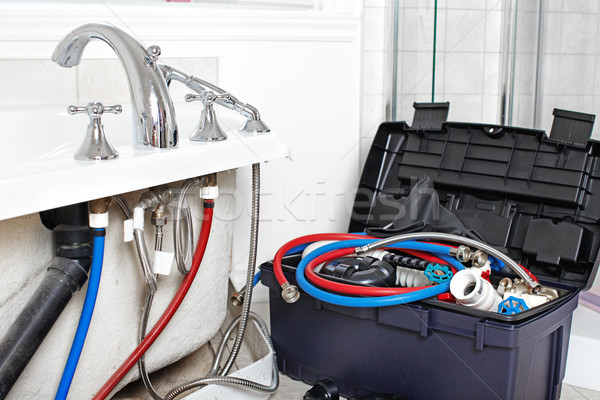 Bad loodgieter tools bouw werk industriële Stockfoto © Kurhan