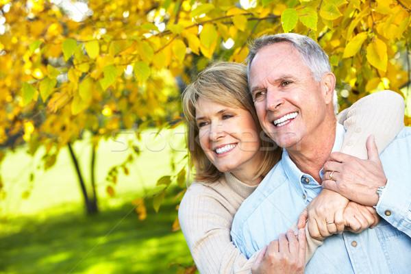 Boldog idős pár idős pár szeretet park Stock fotó © Kurhan