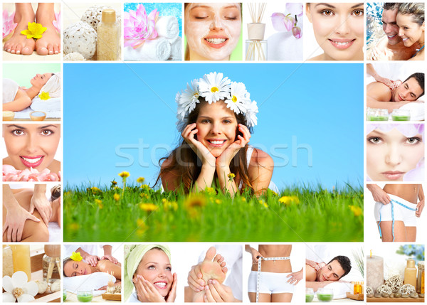 Foto stock: Estância · termal · massagem · colagem · belo · mulher · jovem · corpo