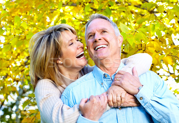 Boldog idős pár szeretet park kint család Stock fotó © Kurhan