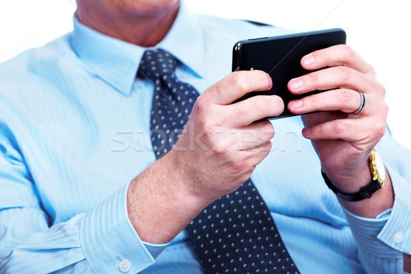 Stockfoto: Zakenman · roepen · telefoon · communicatie · technologie · business